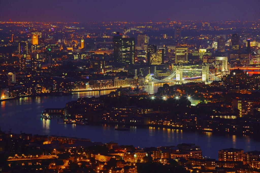 River Thames, Docklands at night - credit visitlondonimages-britainonview